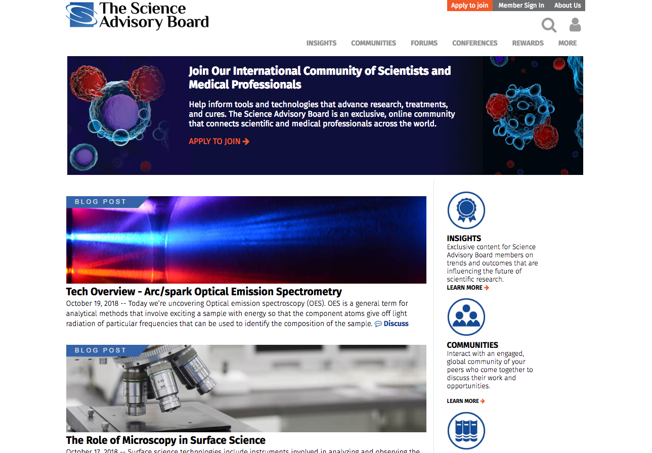The Science Advisory Board Website Homepage